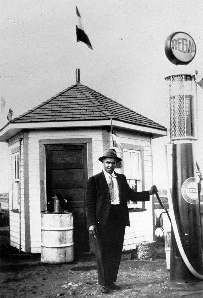 Wilfrid Magnan, front of his gas station - circa 1927-A9179