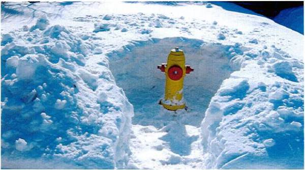 Hydrant cleared from snow bank