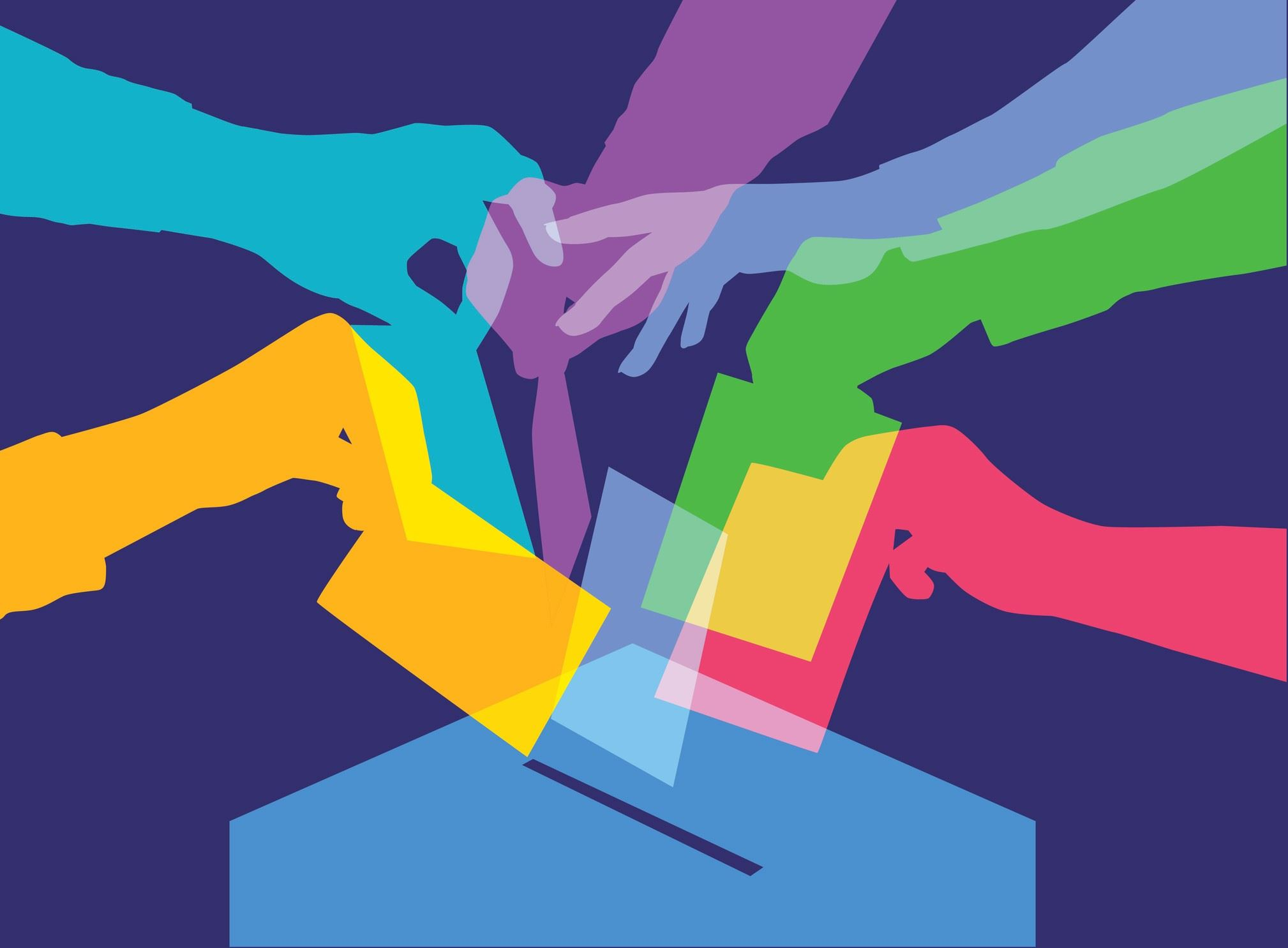 iStock-511806098 colourful hands voting